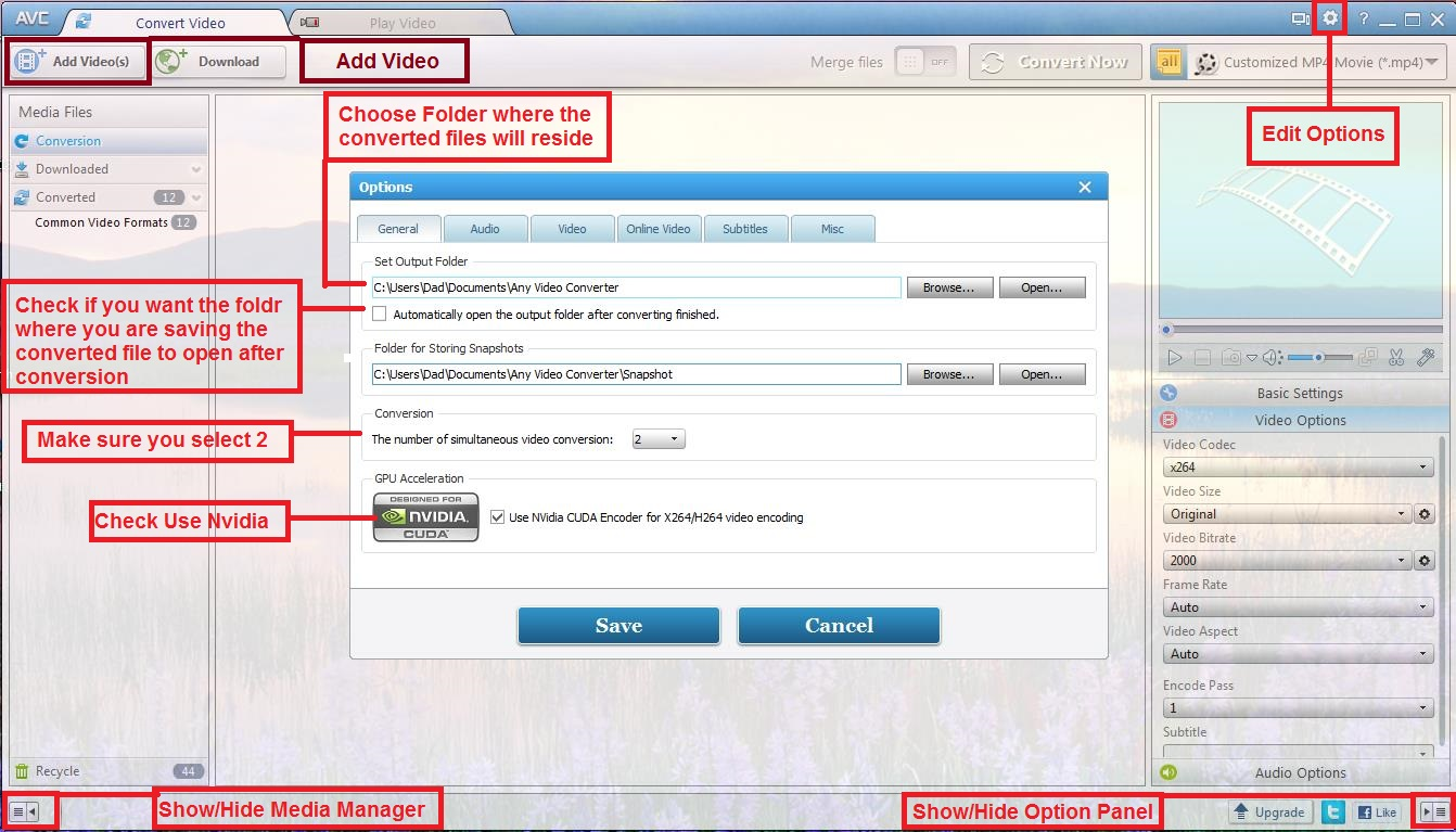 Converting a file to a  mp4/H 264 using Any Video Converter